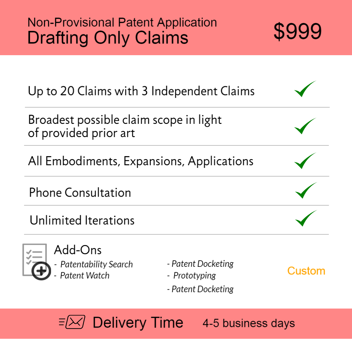 Non Provisional Patent Application Drafting Only Clai 1