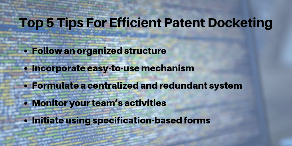 Efficient Patent Docketing